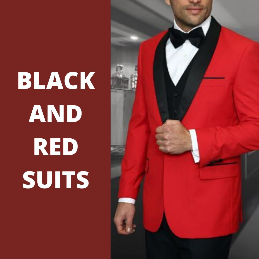 Many Styles, Colors And Sizes, Black and Red Suit for Men