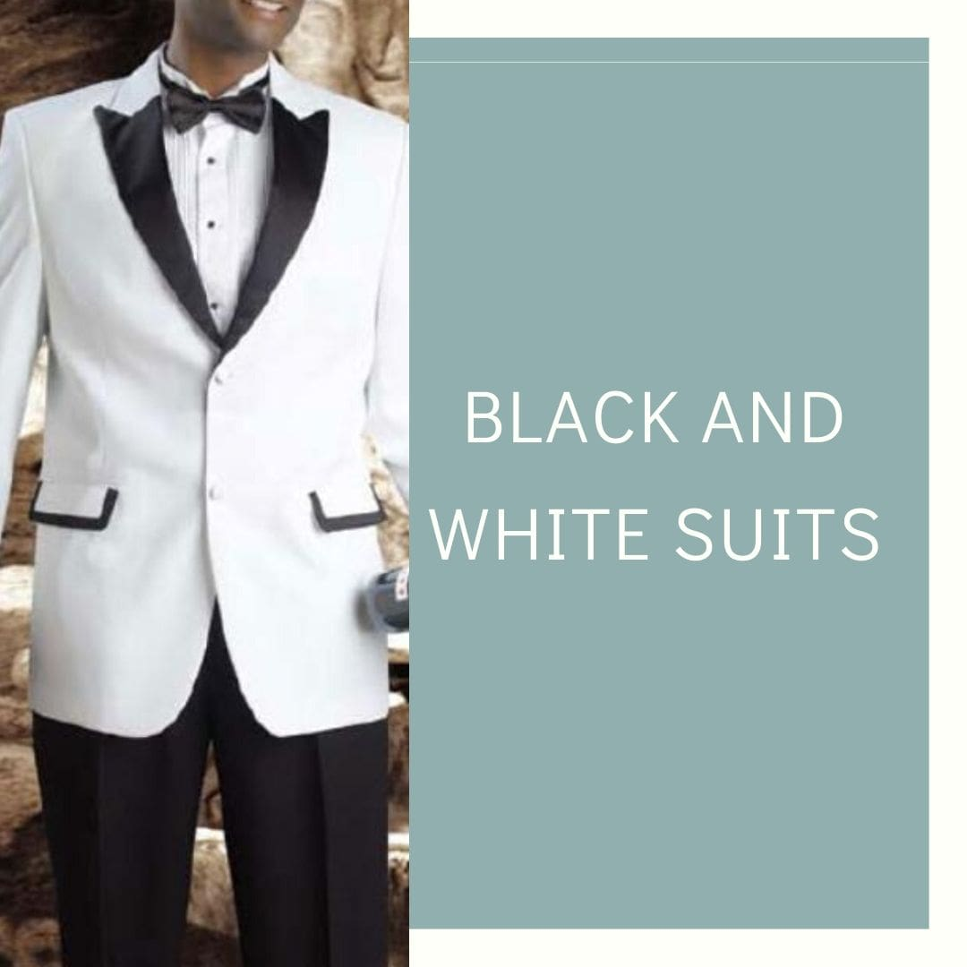 Many Styles, Colors And Sizes, Black and White Suit for Men