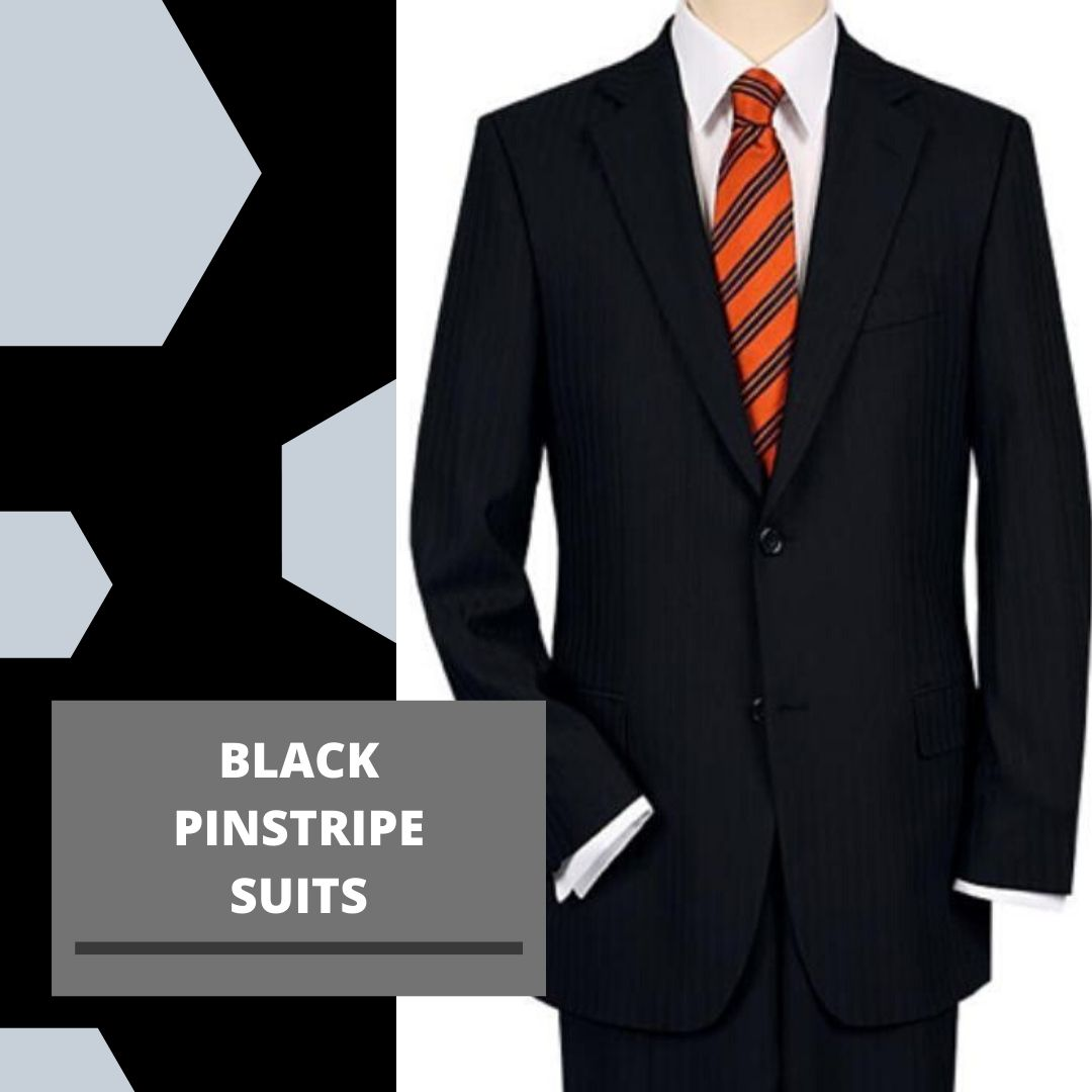 Many Styles, Colors And Sizes, Black and White Pinstripe Suit for Men