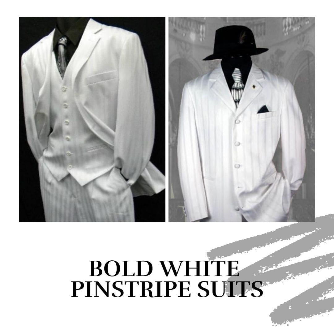Many Styles, Colors And Sizes, Bold White Pinstripe Suits for Men