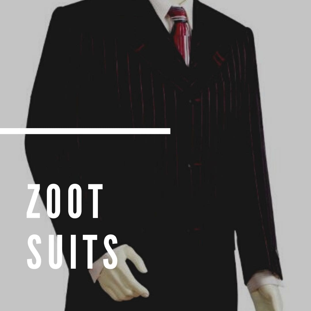 Find pimped out shoulders, wide leg and baggy suit pants with peg leg suits for sale with exclusive gangster zoot suits