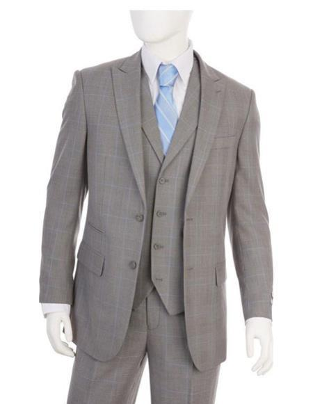 Two Buttons Grey Flat Front Pants Regular Fit Mens Suit, act now only $99.00