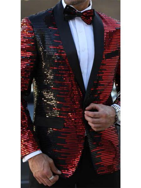 Button Closure Mens Red Balck Striped Designed Suit, act now only $199.00
