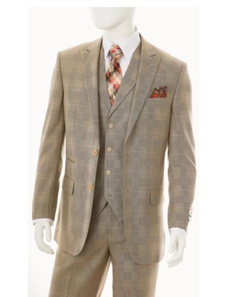 Two Buttons Flat Front Pants Regular Fit Suit In  taupe, act now only $175.00