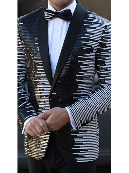 Button Closure White Black Striped Designed Suit For Mens, act now only $199.00