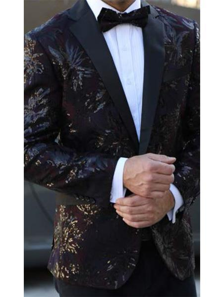Button Closure Burgundy Black Floral Designed Suit For Mens, act now only $199.00