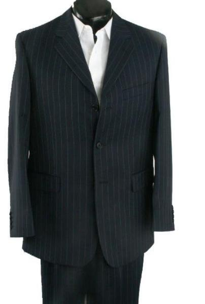 Mens Liquid Jet Black Three Button Style Pinstripe Suit, act now only $139.00