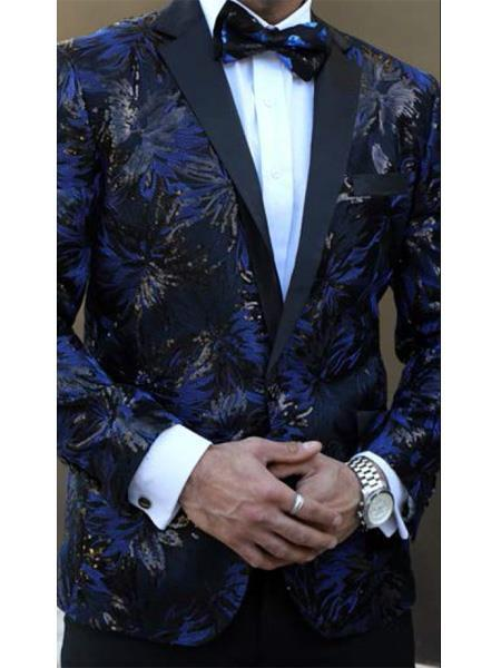 Buttons Closure Royal Black Floral Designed Suit For Mens, act now only $199.00