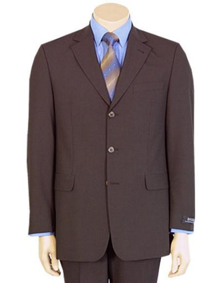 Mens Brown Three Button Style Pure Round Wool Suit, act now only $139.00