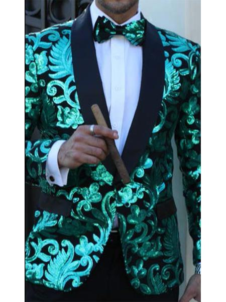 One Button Mens Green floral designed black shawl Lapel Suit, act now only $199.00