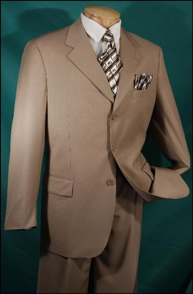 Luxurious Camel Three Button Single breasted Wool Mens Suit, act now only $139.00