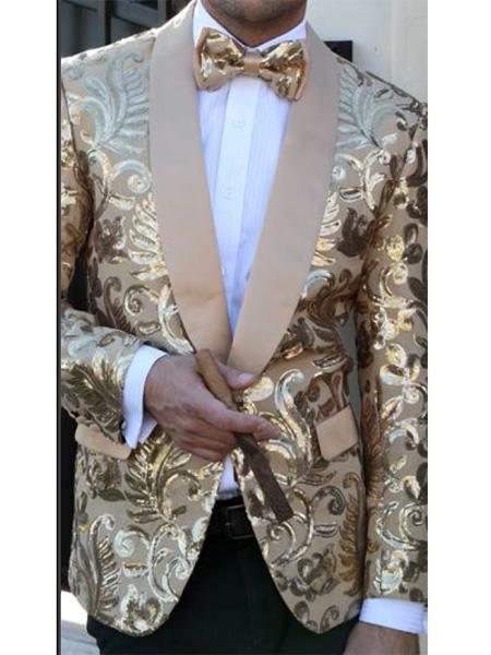 One Button Mens Gold floral designed shawl lapel Suit, act now only $179.00