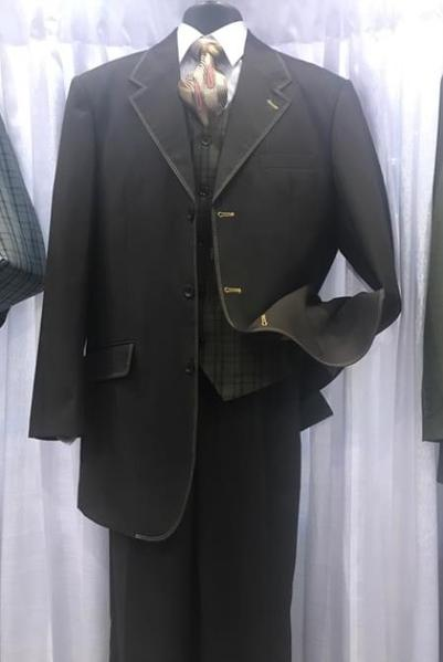 Three Button Style Mens Black Milano Moda Suit, act now only $110.00