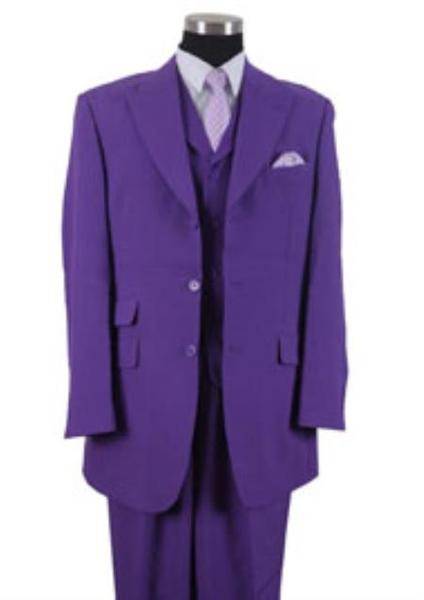 Mens Purple Three Button Peak Lapel Vested 3 Piece Suits, act now only $115.00