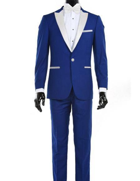 Mens Royal Blue One Button Single Breasted Suit, act now only $150.00