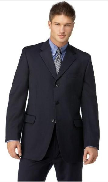 Mens Navy Three Button Style Polyester affordable suit, act now only $109.00