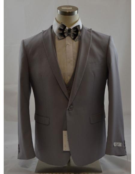 Grey One Button Single Breasted Peak Lapel Mens Suit, act now only $149.00