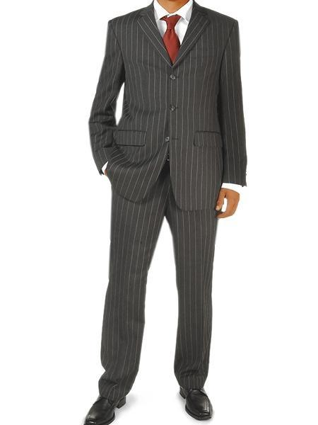 Mens Liquid Jet Black Three Button Pinstripe business Suit, act now only $135.00