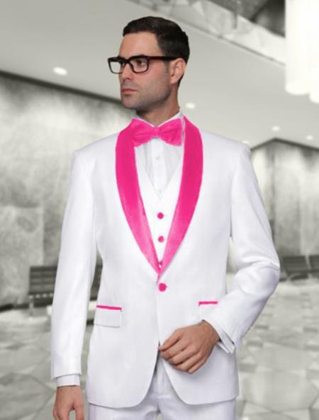 Single Breasted White and Hot Pink Shawl Lapel  Mens Tuxedo, act now only $225.00