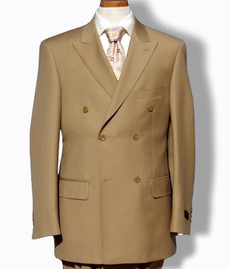 Three Button Style Khaki Double Breasted Mens Suit, act now only $125.00