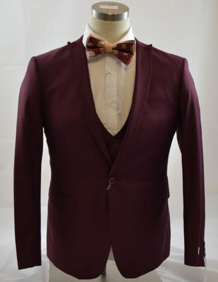 One Button Burgundy  Peak Lapel Vested Mens Poly rayonsuit, act now only $149.00