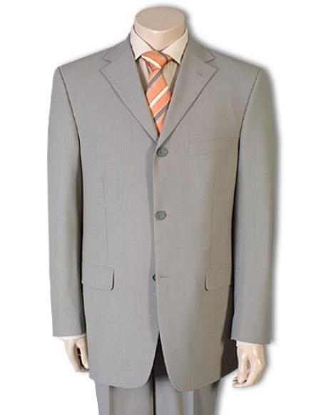 Three Buttons Beige Wool Fabric Viscose Style Suit, act now only $109.00