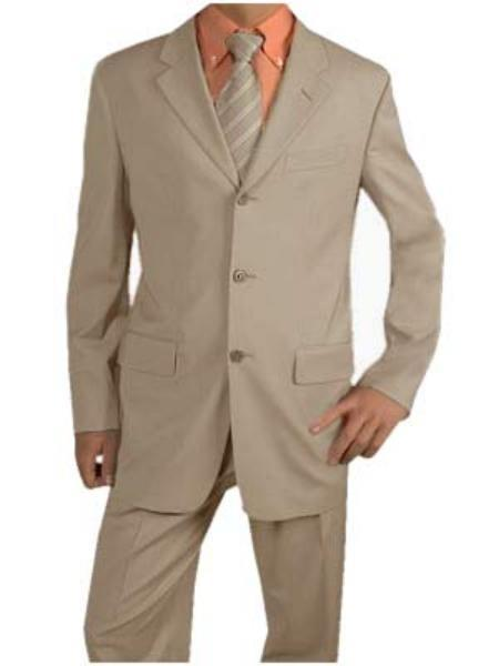 Beige Three Button Poly Blend Summer Suits for Mens, act now only $109.00
