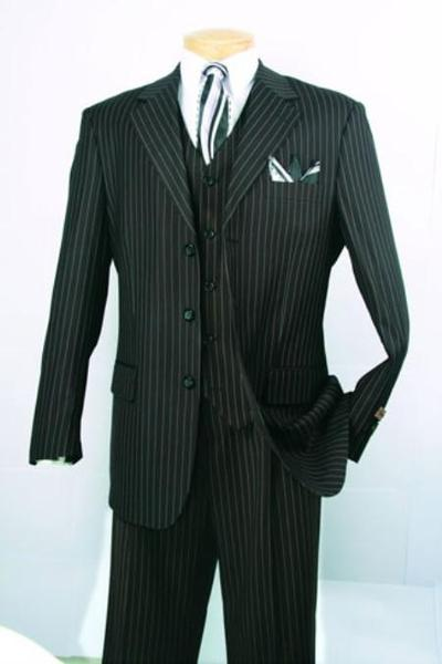 Liquid Jet Black Mens Fabric Three Piece Suit, act now only $139.00