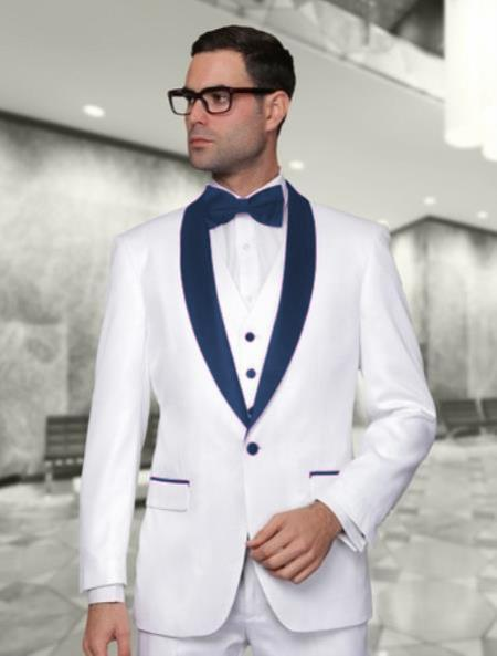 One Button White and Navy Blue Shawl Lapel Mens Tuxedo, act now only $225.00