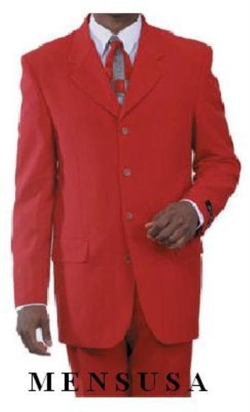 Red Three Button Style Single Breasted Mens Suit, act now only $109.00