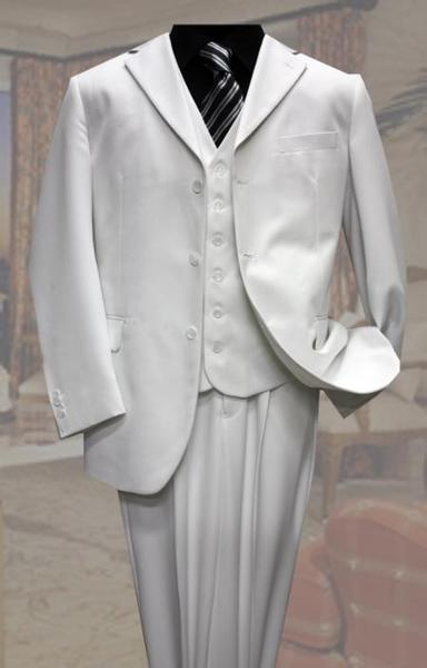 White Three Button Style Pinstripe Suit For Mens, act now only $139.00