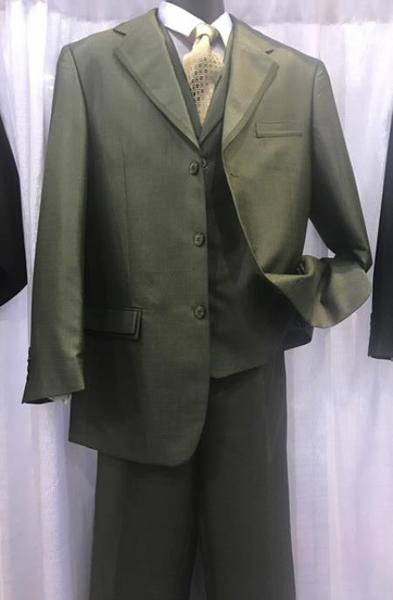 Three Button Style Olive Milano Moda Mens Suit, act now only $110.00