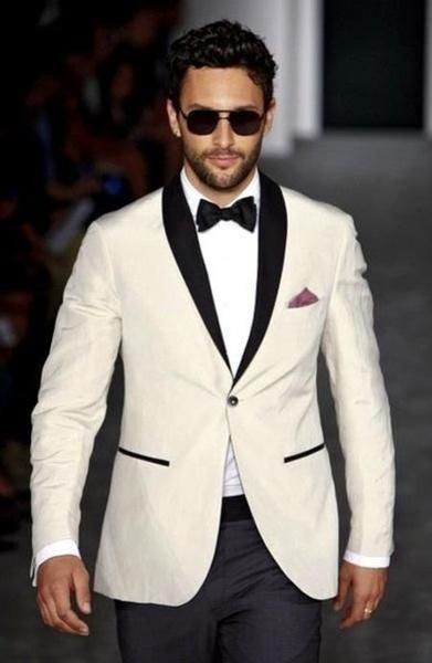 Ivory and Black Satin Lapels Mens Wedding Suit, act now only $141.00