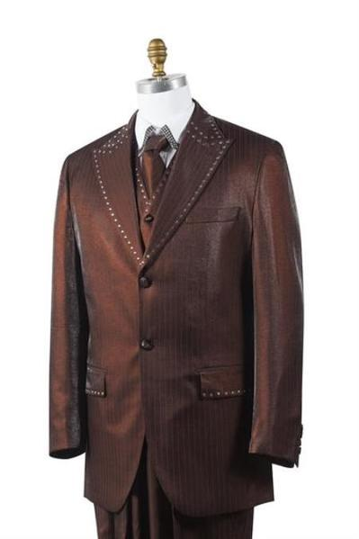 Two Button Style Sharkskin Mens Brown Suit, act now only $175.00