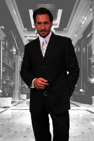 Mens Liquid Jet Black Three Button Style Wool Suit, act now only $139.00