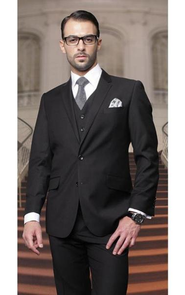 Two Buttons Solid Liquid Jet Black Vested Mens Suits, act now only $199.00
