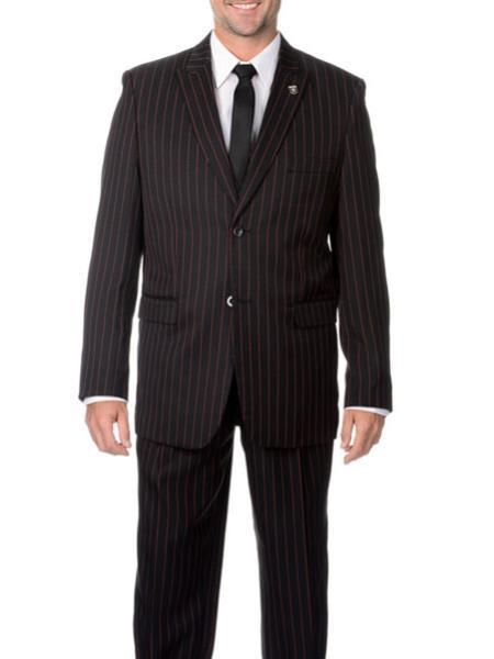 Two Button Style Liquid Jet Black Pinstripe Suit For Mens , act now only $125.00
