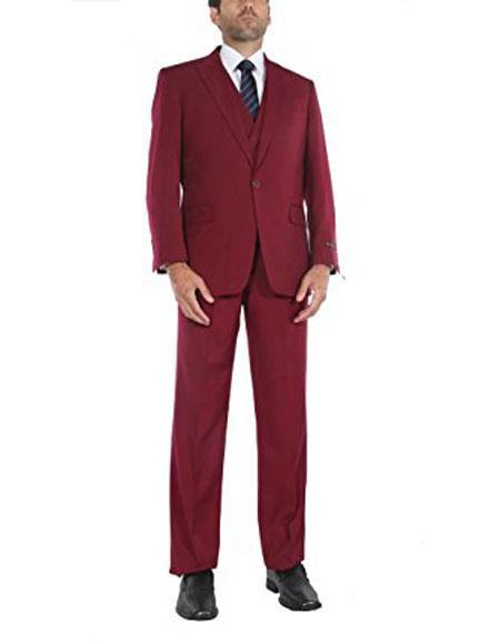 One button Single Breasted Jacket Red Mens suits, act now only $150.00