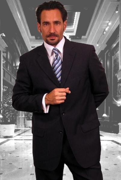 Navy Three Button Style Superior Fabric Suit For Mens, act now only $139.00