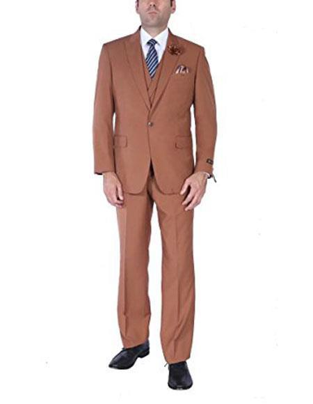 One Button Brown Stylish Pleated Pants Mens suit, act now only $150.00