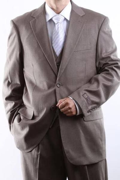 Two Button Style Light brown color Vested Mens Suit, act now only $150.00
