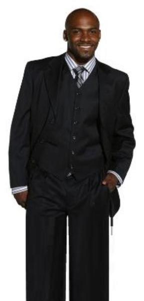 Three Buttons High Vested Dress three piece Mens Suit In Black, act now only $125.00