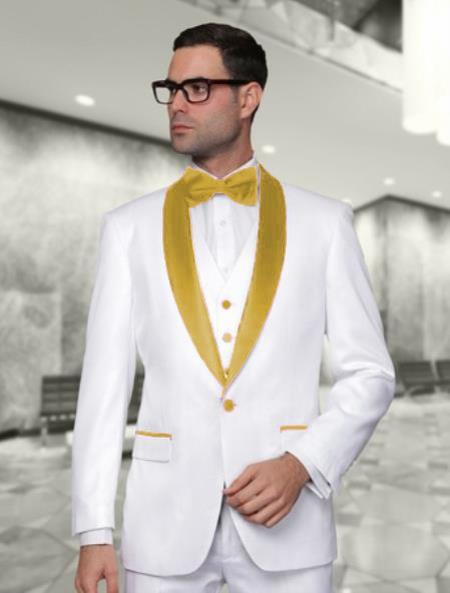 One Button White and Gold Vested Shawl Lapel Mens Tuxedo, act now only $225.00