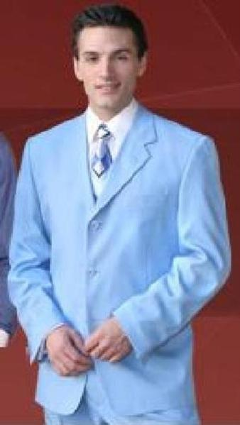 Mens Sky Blue Pastel Color Three Buttons Style Suit, act now only $109.00