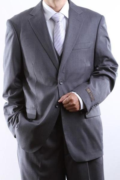 Two Button Style Tonal Vested Mens Suit In Gray, act now only $155.00