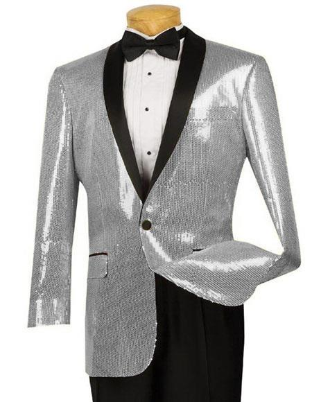 One Button Black Lapel Blazer Silver Jacket Suit For Mens, act now only $175.00