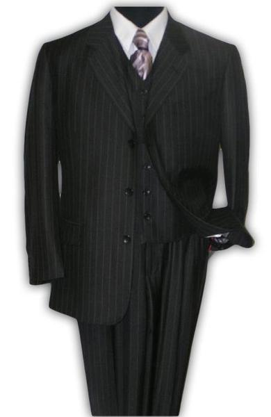 Mens Classic Black Pinstripe Two Button Style Three Piece Suit, act now only $159.00
