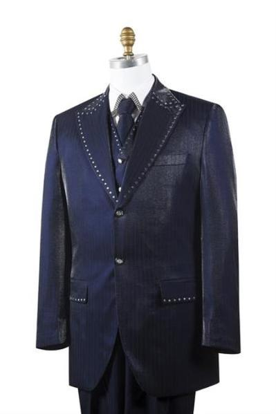 Two Button Style Navy Sharkskin Mens Suit, act now only $175.00