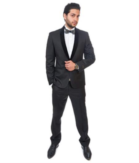 One Button Jet Black Cotton Blend Men'S Slim Fit Suit, act now only $495.00