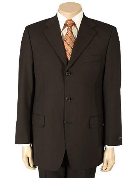 Mens Pure Wool Fabric Three Buttons Suit In Dark brown, act now only $139.00